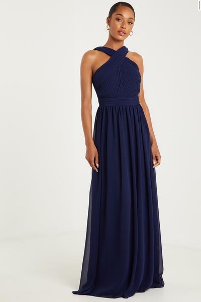 Navy Chiffon Maxi Dress